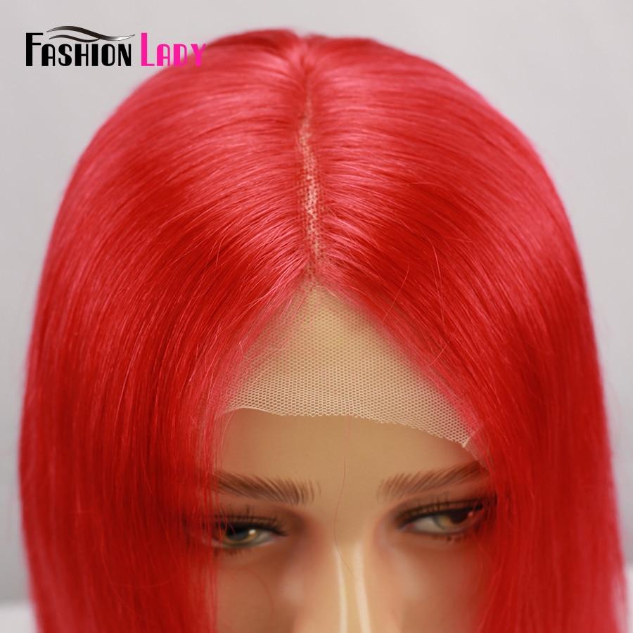Парики из натуральных волос на кружевной основе, цвет красный, парик из натуральных волос 13x6 - 2