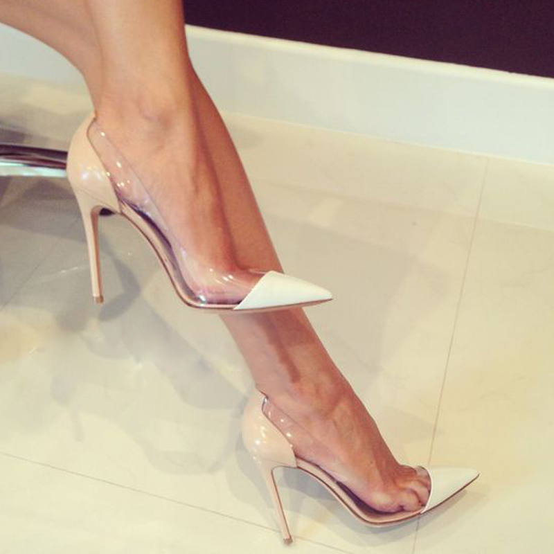 Transparent High Heels  Sexy Shallow  Shoes Genuies  Leather Wedding Shoes  High Heel Women's Shoes