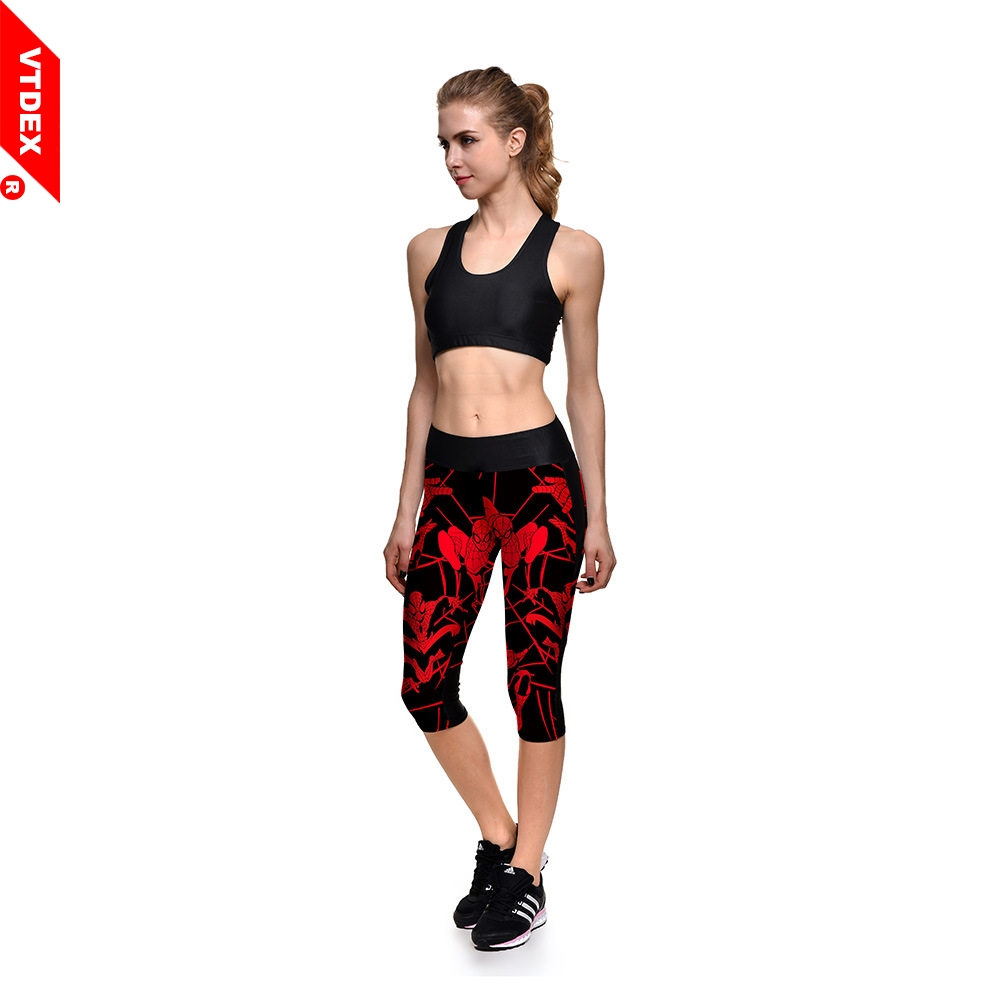 df7f38a11bc6d Women Sports Stretch Cropped Pants VTDEX Spiderman Pattern Leggings Capri  Yoga GYM Running Fitness Trouser Sportswear Tights-in Yoga Pants from Sports  ...