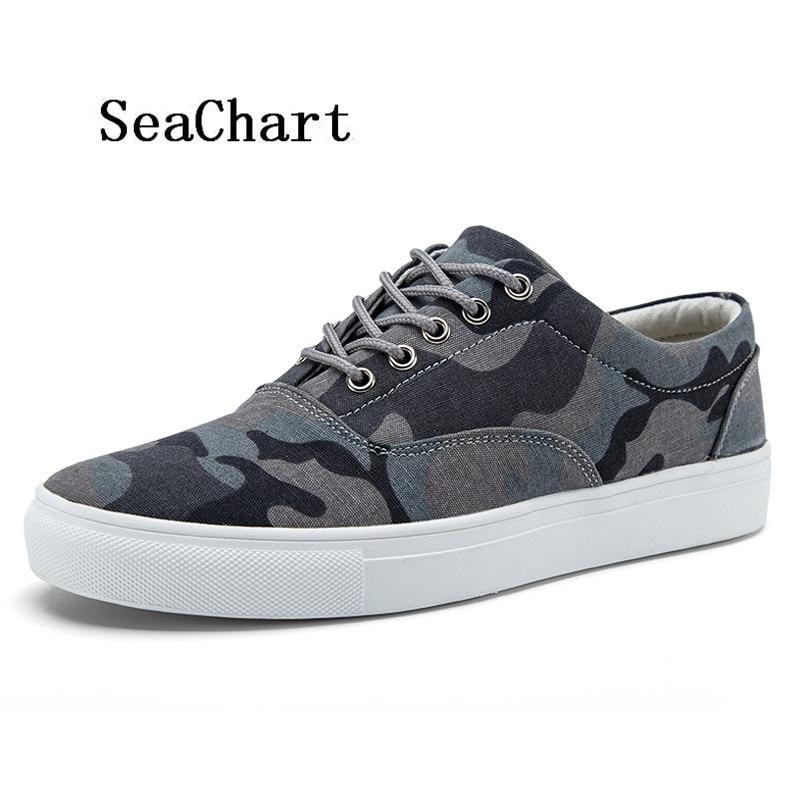 Prix pour SeaChart Hommes Camo de Toile Planche À Roulettes Chaussures Split Camouflage Bande Sport En Plein Air Streety Uomo Sneakers Espadrilles Chaussures