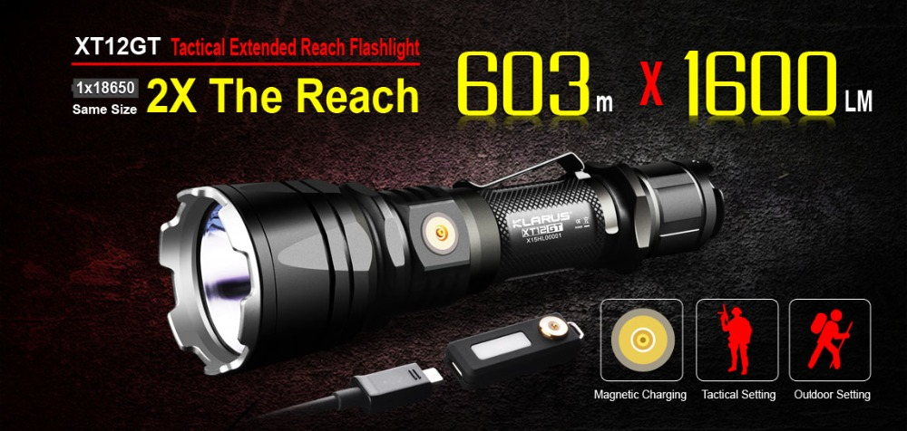 2017 New KLARUS XT12GT 1600 Lumens LED Flashlight  CREE LED XHP35 HI D4 Waterproof Tactical Flashlight with18650 Battery new klarus xt11gt cree xhp35 hi d4 led 2000 lm 4 mode tactical led flashlight free usb port and 18650 battey for self defence