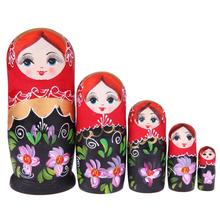 5 schichten/lot Schwarz Rot Mädchen Linde Russische Matryoshka Puppen Handgemachte Handwerk Nesting Puppen Kinder Spielzeug Kinder Geschenk Holz russische
