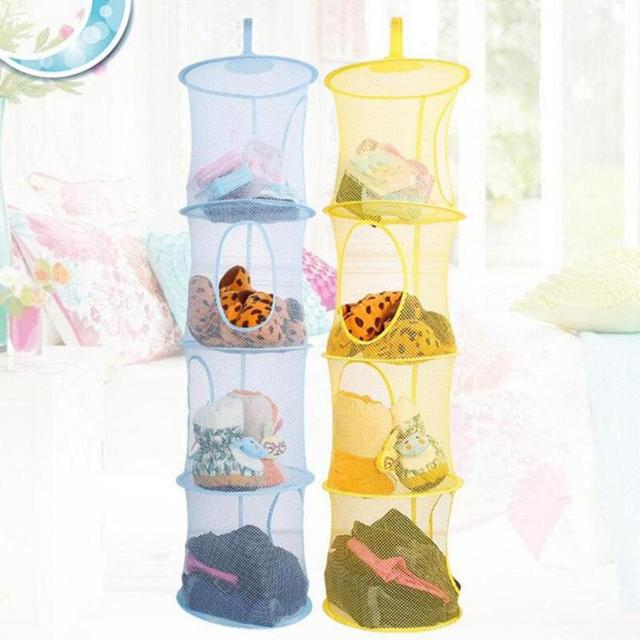 Bon 4 Tier Mesh Hanging Storage Pocket Toys Bedroom Door Wall Closet Home  Organizer Bags Foldable Nest