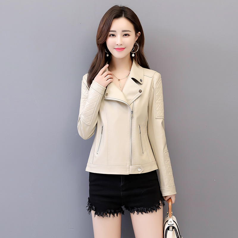 2019 New Womens Faux   Leather   Jackets And Coat Ladies Short Slim Soft   Leather   Black Zippers Moto style Jacket 5XL Female Clothing