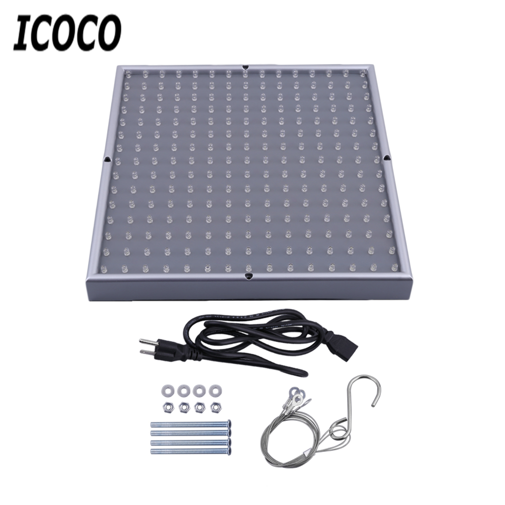 ICOCO Portable 85-265V 225 LED 700LM Grow Light Lamp Panel Quad-band Square Full Spectrum Plant For Hydroponic Plant Sale
