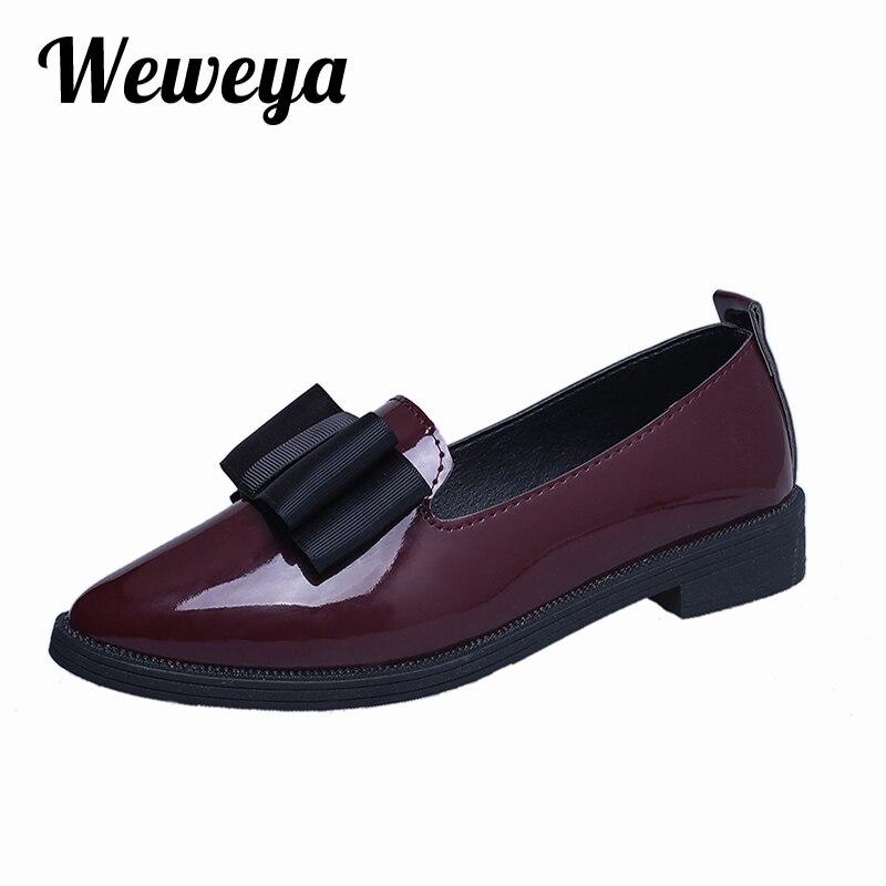 Weweya 2017 Mariposa-nudo Pisos Punta estrecha Zapatos Mujeres Resbalón Ocasiona