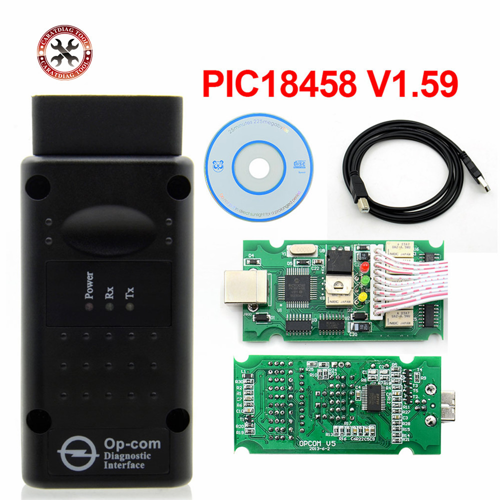 Shipping from Russain OP COM V1 59 V1 95 with PIC18F458 Chip Diagnostic Tool OpCom V1 59 Can Bus Diagnostic Tool for Opel