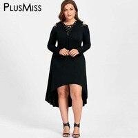 Plus Size 5XL Freddo Spalla Alto Basso Vestito Longuette Donna autunno 2017 Manica Lunga In Pelle Lace Up Nero Felpa Con Cappuccio vestito