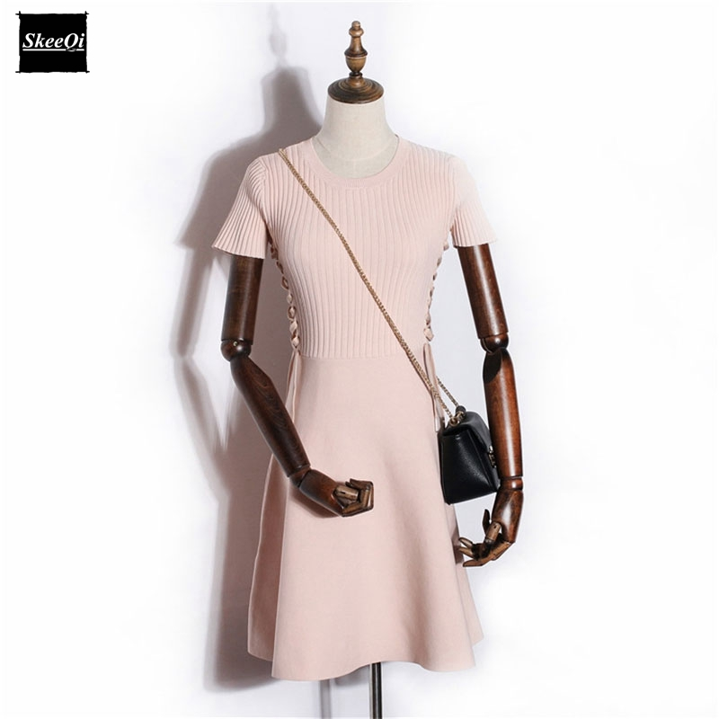 2018 New Basic Knitted Dress Women Autumn Winter Side Lace up Striped Fashion Mini Sweater Dress Black Pink vestidos de fiesta