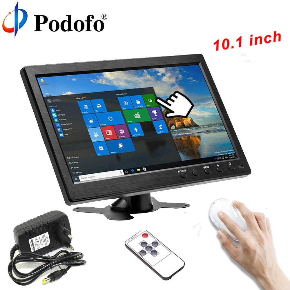 """Podofo 10,1 """"ЖК-монитор с высоким разрешением мини ТВ и компьютер цвет дисплея экран 2 канала видео вход безопасности Мониторы с динамик VGA HDMI"""