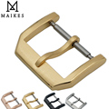 MAIKES New 18mm 20mm Gold Watch Buckle Leather Watch Band 316L Stainless Steel Brushing Clasp Case For IWC Watchband