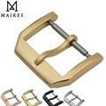 MAIKES Novo 18mm 20mm Relógio Faixa de Relógio de Couro Fivela de Ouro Aço Inoxidável 316L Caso Fecho Para IWC Escovação pulseira