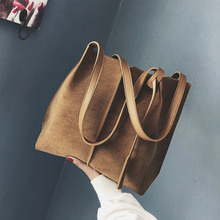 2019 Fashion PU design womens tote handbag nubuck  leather large capacity shoulder bag vintage Totes Bags