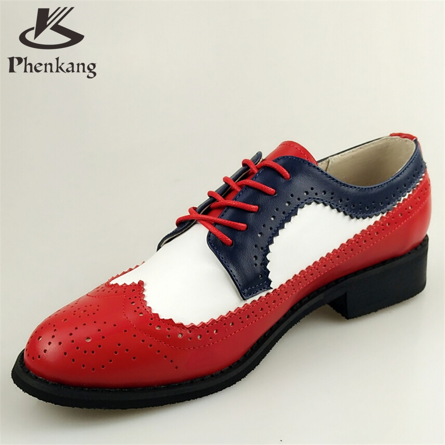 ФОТО Genuine leather big woman US size 11 designer vintage shoes round toe handmade red white blue 2017 oxford shoes for women