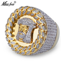 MISSFOX Hip Hop Brand Jesus Portrait Mens Rings Christian Full Cz Diamond Leaf Decorated Luxury Gold Ring High End Zircon Ring