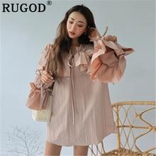 RUGOD Korean Ruffles loose women dress Fashion V neck butterfly sleeve oversized ladies boho style party beach mini