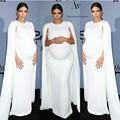 SML Blanco Jersey Celebrity Kim Kardashian Vestido Caftán Blanco Capa Elástica Vestido de Noche para Las Mujeres Embarazadas de Maternidad Vestido Formal