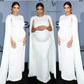 SML Camisa Celebridade Kim Kardashian Branco Vestido Kaftan Branco Capa Elástica Vestido de Noite para As Mulheres Grávidas Maternidade Vestido Formal