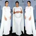 SML Kim Kardashian White Jersey Celebrity Dress Kaftan White Elastic Cape Evening Gown for Pregnant Women Maternity Formal Gown