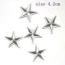 10pcs/lot Mini silver Metallic Iron 5 Star Embroidered Applique Ironing Clothes Patch Decoration