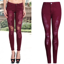 2017 Women Hole Skinny Jeans Slim Famale Red Solid Zippers Ripped Pencil Jeans Ladies Mid Waist Pants Trousers WJNAM063