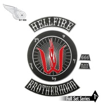 Hells fire brotherhood motorcycle patch embroidery iron on custom for jacket clothing application free shipping