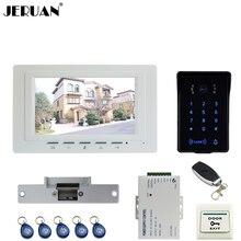 """JERUAN 7 """"LCD Video de Intercomunicación Video de La Puerta Sistema de Teléfono a estrenar Táctil de Acceso RFID A Prueba de agua Cámara de La llave + Remoto de control Abierto"""