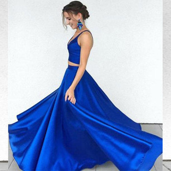 Royal Blue Two Pieces Prom Party Dresses Simple Sexy V Neck Straps Evening Party Wears Cheap Graduation Special Occasion Gowns
