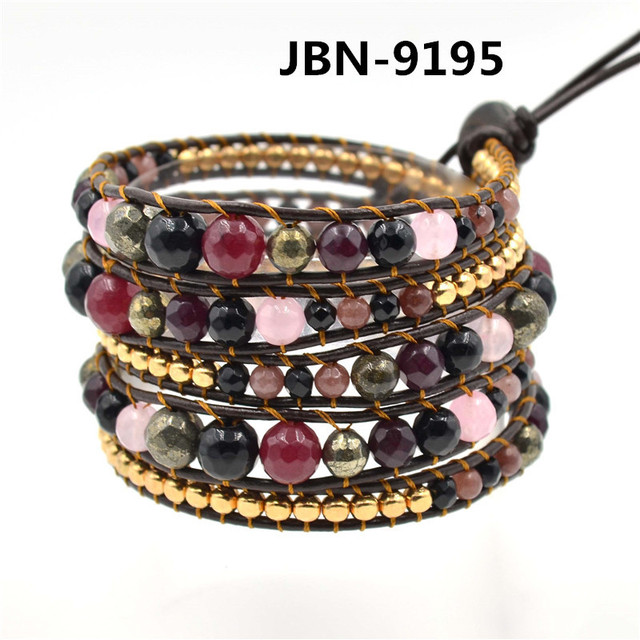 New fashion jewelry Hand-woven Natural stone beads gold bracelets wrapped bracelet men jewelry  JBN-9195