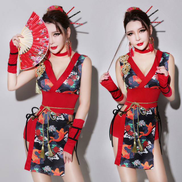 1be87445f Retro Bar Dj Female Singer Cheongsam Ds Performance Suit Sexy Adult Collar  Dance Dress Cosplay Geisha