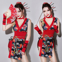 Retro Bar Dj Female Singer Cheongsam Ds Performance Suit Sexy Adult Collar Dance Dress Cosplay Geisha Clothing