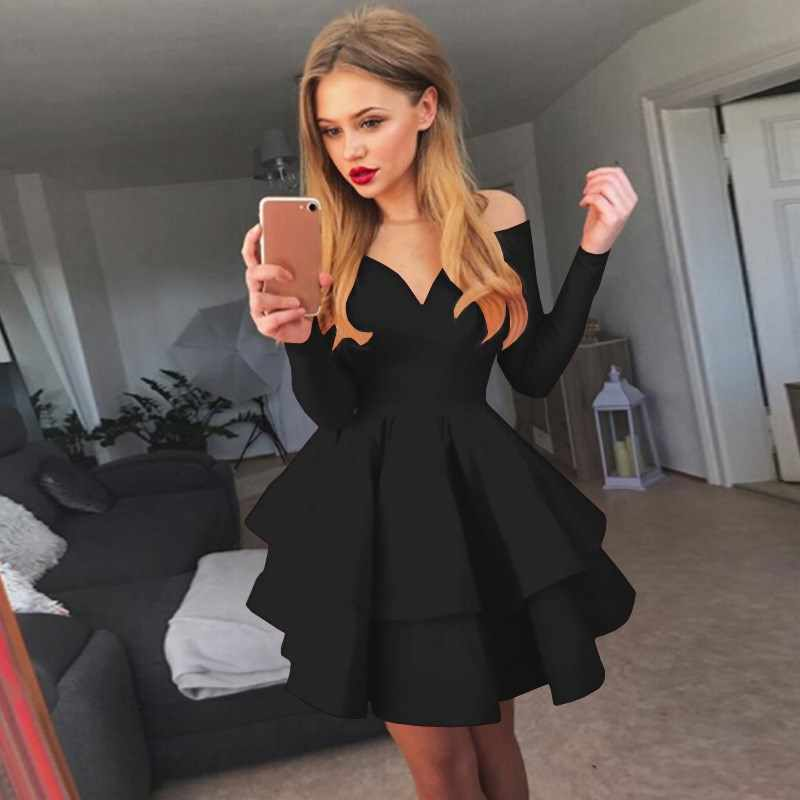Mode femmes courte Mini robe de bal robe a-ligne femmes robe sans bretelles solide robe élégante Vestidos
