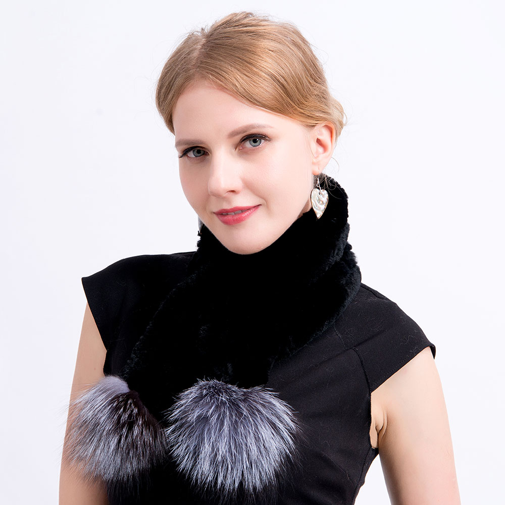 Rex rabbit fur hat scarves pompom  (32)