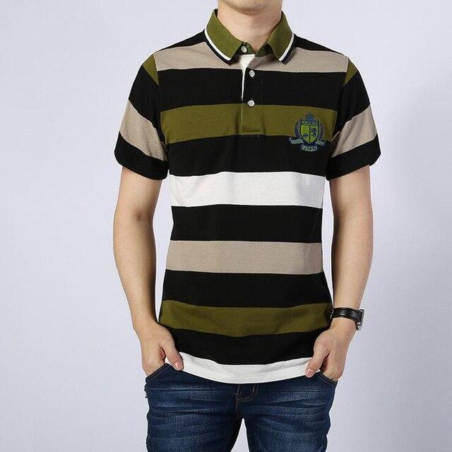 Мужчины футболка-поло новый 2016 высокое качество бизнес повседневная мужская с коротким рукавом Поло рубашки армия зеленый Дышащий полосатый хлопок футболки