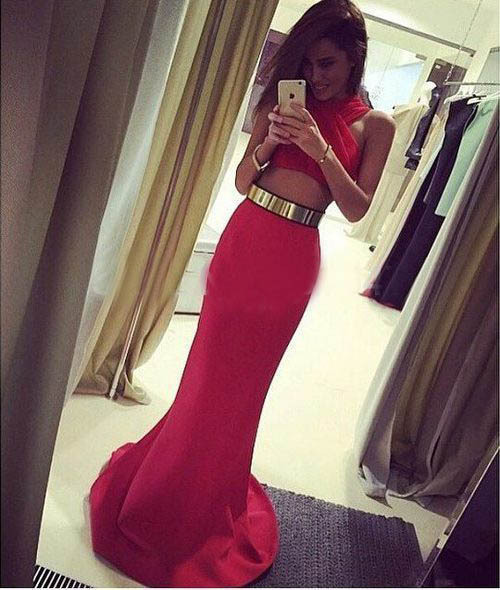 two piece bodycon crop top and skirt set Prom Dresses 2015 Formal ...