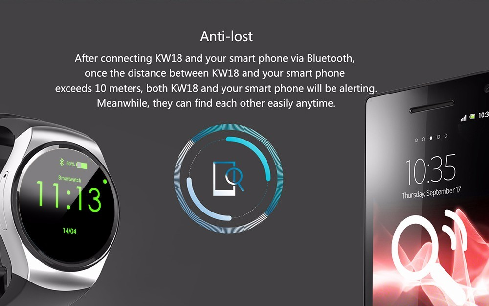 RsFow KW18 Smart Watch SIM TF MTK2502 Heart Rate Monitor Smartwatch Touch Screen bluetooth Wristwatch For ios Andriod Phone