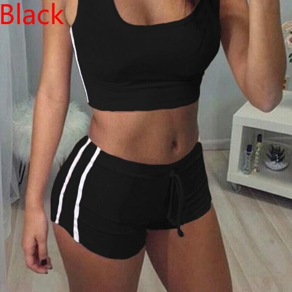Women Quick-Dry Yoga Training Sets Anti-Shrink Sleeveless Round Collar Tops + Shorts Yoga Running Sports Suits Outdoor Sportwear