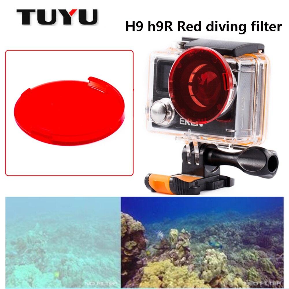 Tuyu Filtro de buceo rojo para H9 h9r h8r v8s h3r w9s W9 Cámara estuche impermeable rojo filtro Lens CAP para h9 accesorios de la cámara