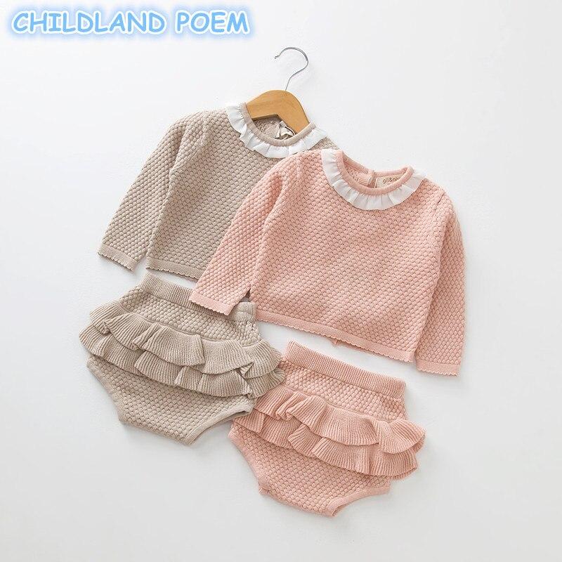 UK 2PCS Kids Toddler Baby Girl Knitted Sweater Ruffle Tops Cardigan Denim pants