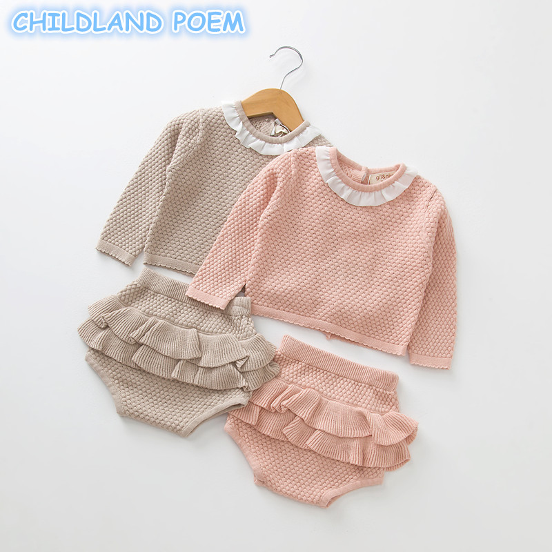 Baby Girls Boys Clothing set Knitted Newborn Baby Clothes Sweater + Shorts 2 pcs Outfits Ruffle Spring Winter Toddler Baby Set