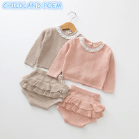 Baby Girls Boys Clothing Set Knitted Newborn Baby Clothes Sweater Shorts 2 Pcs Outfits Ruffle Spring