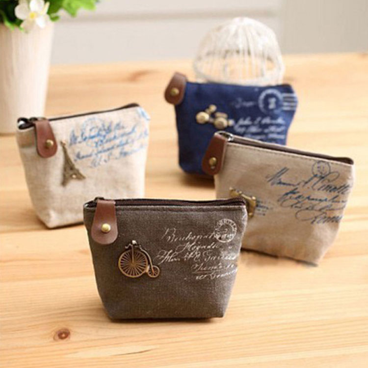 XYDYY Vintage Canvas Coin Purses Effiel Tower Bicycle Camera Rivet Change Coin Purse Pouch Bag Square Zipper Coin Purse Wallet vintage paris coin purses packet nostalgia canvas coin bag