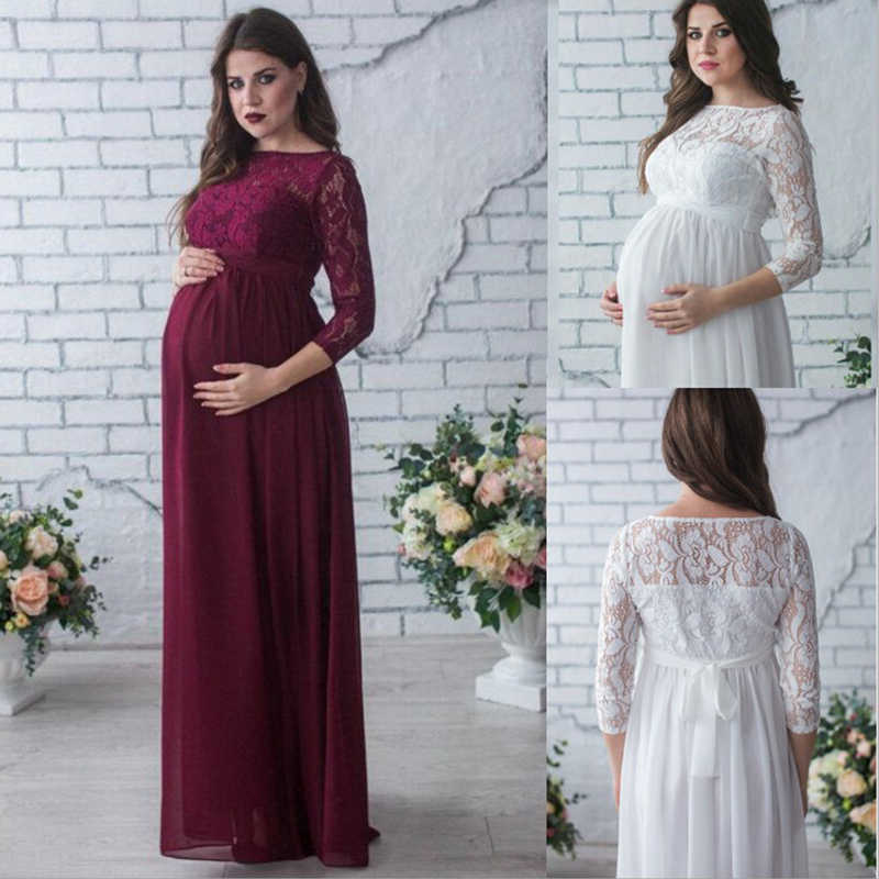 Maternity Shoulderless Lace Photography Props Dresses For Pregnant Women Pregnancy Clothes Maternity Dresses For Photo Shoot