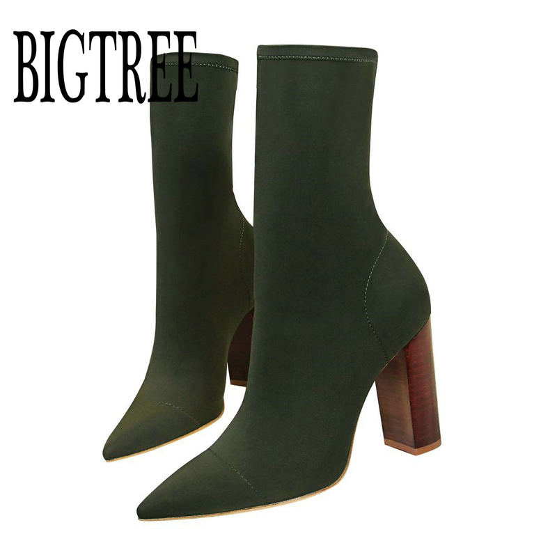 все цены на BIGTREE Fashion Elastic Sock Ankle Boots Chunky High Heels Stretch Women Autumn Sexy Booties Pointed Toe Women Pumps Boots Woman онлайн