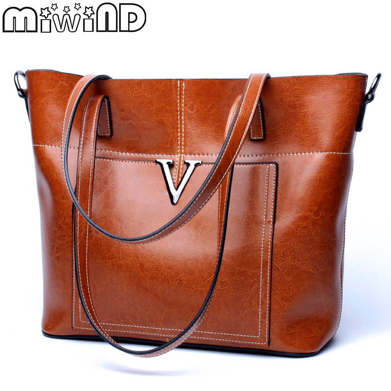 MIWIND 2017 New Women Bag Cow Oil Wax Leather Handbags Letter V Shoulder Bags Female Luxury Casual Totes Simple Fashion Portable 2017 women leather handbags summer new oil wax cowhide handbags female retro handbag fashion simple shoulder messenger bags