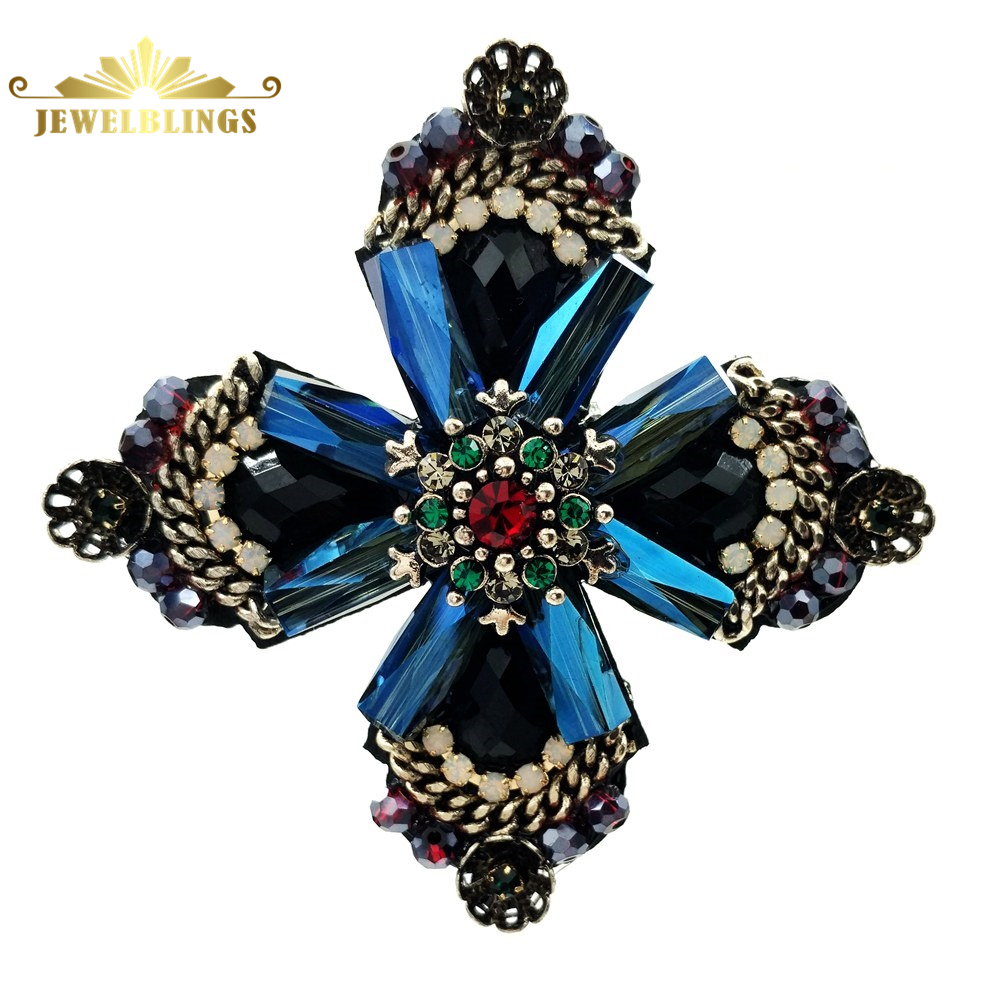 Retro Vintage Dark Blue Crystal Rhinestone Cross Style Flower Brooches Gold Tone Faceted Four Petal Flower Pins For Women Suit