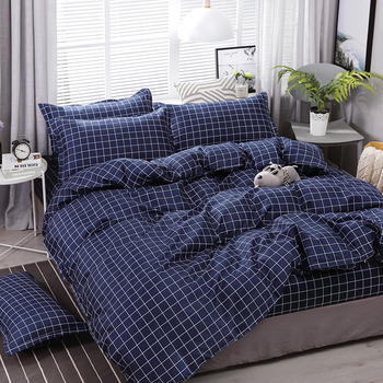 High Quality Checkered Dark Blue Style Bedding Set Bedding Sets