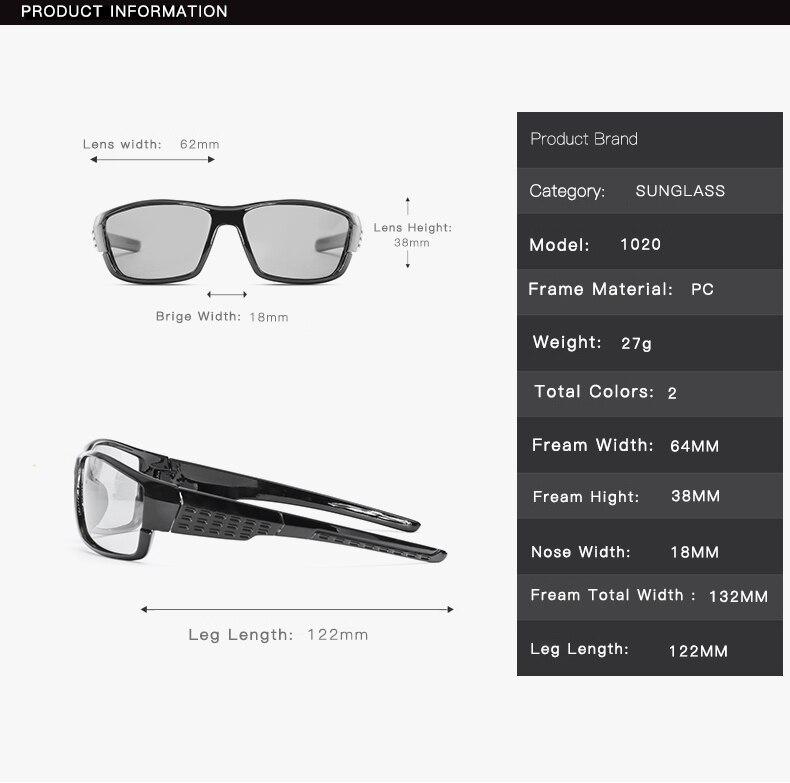 DD Brand Photochromic Sunglasses Men Polarized Chameleon Discoloration Sun Glasses For Men Fashion Square Driving Accessories in Men 39 s Sunglasses from Apparel Accessories