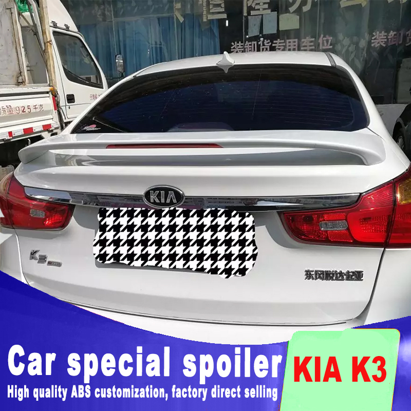 high quality 2011 2012 2013 rear trunk wings rear spoiler red stop pilot lamp light for KIA K3 ABS material primer or DIY color