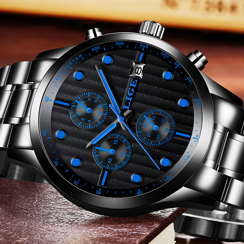 LIGE Mens Watches Top Brand Luxury Man Waterproof Sport Military Quartz Watch Men Fashion Business Full steel Wrist watches+Box